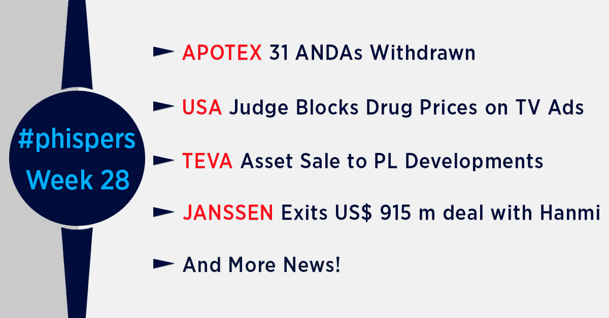 Manufacturing concerns at Apotex lead to withdrawal of 31 ANDAs; US working on executive order on drug prices
