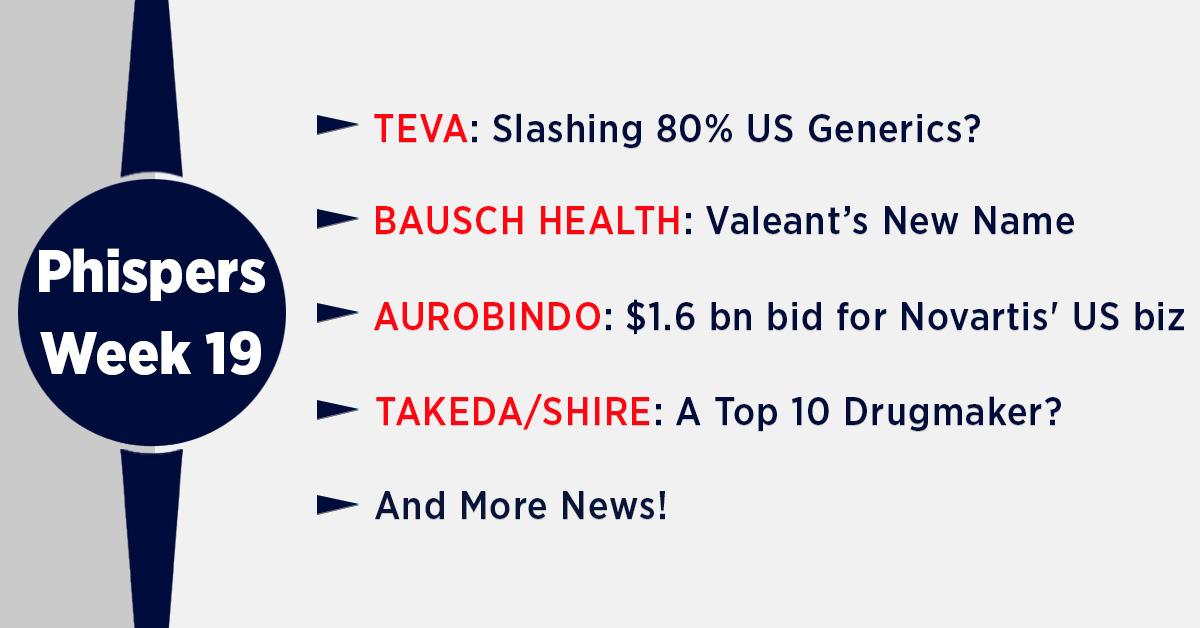Teva to exit 80 percent generics portfolio in US; Takeda clinches Shire for US$ 62 billion