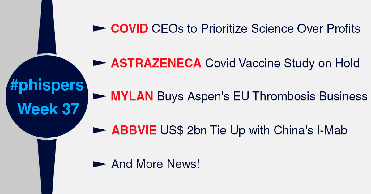 CEOs pledge to prioritize science for safe Covid vaccine; AstraZeneca-Oxford put phase 3 trials on hold