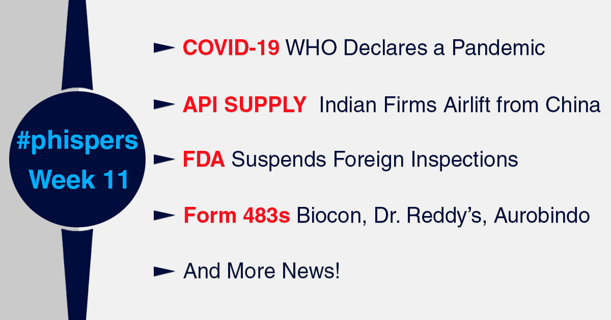 Covid-19 update: Indian firms airlift APIs from China; FDA suspends foreign inspections; pharma events get cancelled