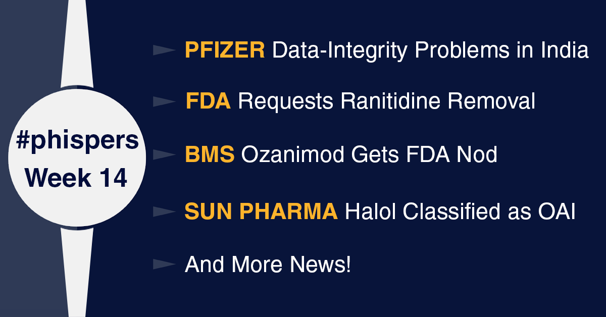 FDA highlights data-integrity concerns at Pfizer's India unit; FDA requests removal of all ranitidine products