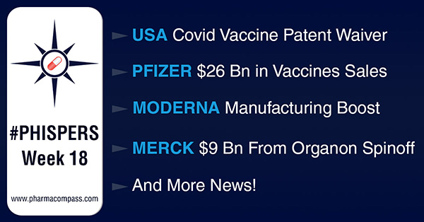 Pfizer expects US$ 26 billion in 2021 from vaccine sales; US backs vaccine patent waiver plan to end pandemic