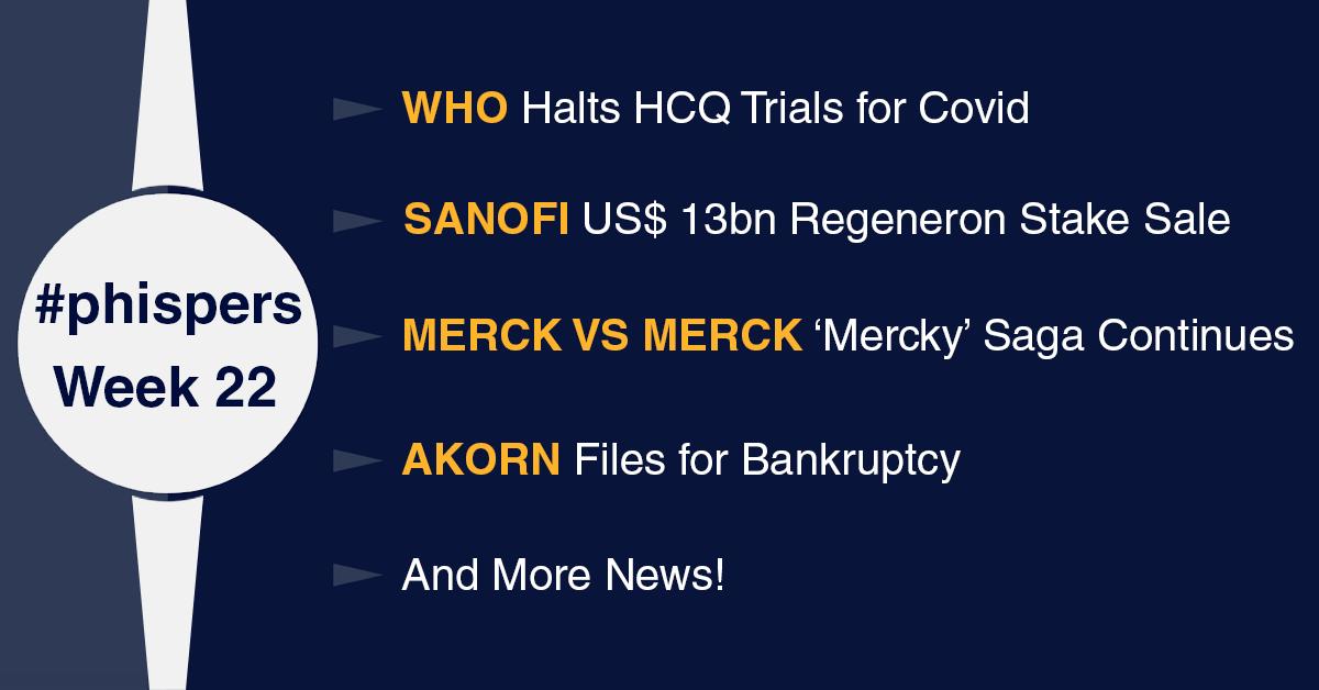 WHO halts HCQ trials for Covid; Merck vs Merck: 'Mercky' saga continues; Akorn files for bankruptcy