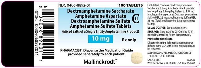 Amphetamine salts 10mg cor 132